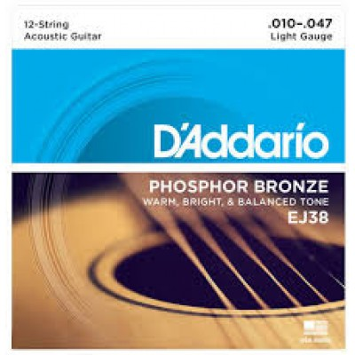 D`Addario Acoustic Phosphor Bronze 12 String Light EJ38
