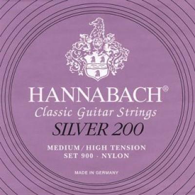 Hannabach Silver 200 Classical Guitar Strings Medium/High Tension Set 900