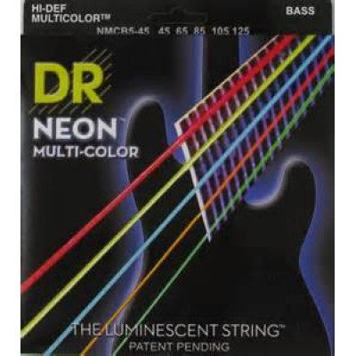 DR NMCB5-45 Neon Multi-Color 5 String Electric Bass Strings