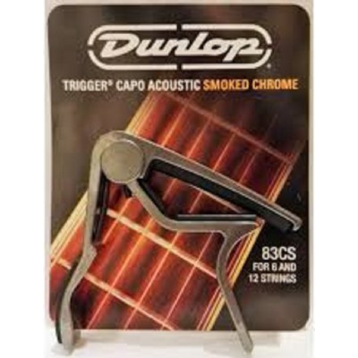 Dunlop Trigger Capo Acoustic Guitar Curved Smoked Chrome 83CS